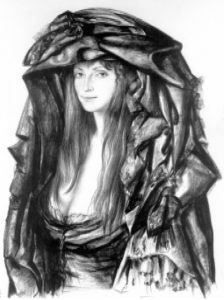 Р.Хачатрян. Портрет. Картон, сепия, 1978.