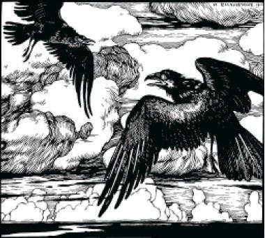 И.Билибин. Заставка к стихотворению А.С.Пушкина «Два ворона». 1 9 1 0 .
