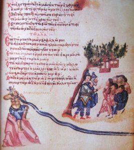 Хлудовская псалтырь, псалом «На реках Вавилонских» с маргинальными иллюстрациями, изображающими иудеев