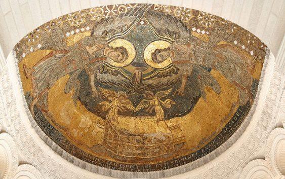 Изображение: «Ковчег Завета». Мозаика.Конха апсиды в капелле в поместье Теодульфа Орлеанского.Ок. 800 г. Сен-Жерминьи-де-Пре