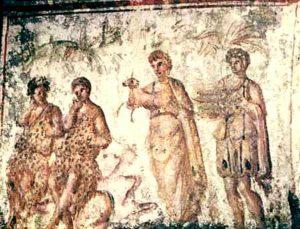 Адам и Ева с сыновьями. Катакомбы на виа Латина