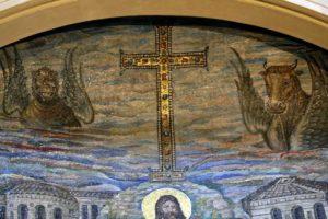Санта Пуденциана Крест и символы евангелистов Лев и Телец
