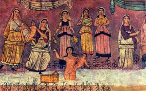 Фреска из синагоги в Дура-Европосе, изображающая библейский сюжет с младенцем Моисеем
