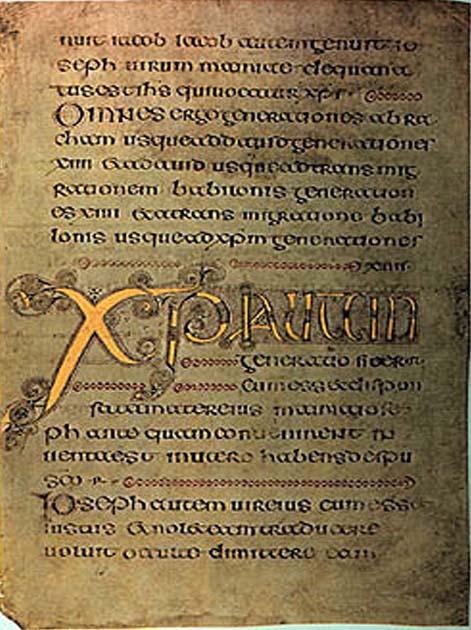 Евангелие из Дарроу (Книга из Дарроу), к. VII в, аббатство Дарроу, Ирландия / Тринити-Коллежд, Дублин