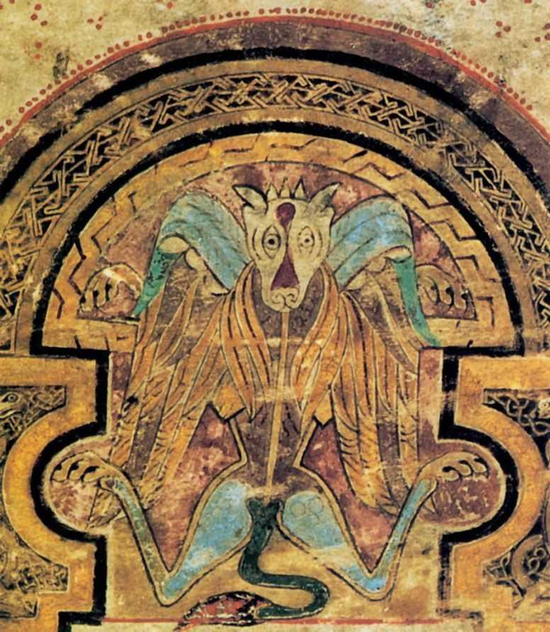 Лев - символ евангелиста Марка. Конец 8 - начало 9 века. Келлская книга. Тринити-колледж, Дублин. Миниатюра. Ирландия. Монастырь Иона. Ms. A I, f.4r