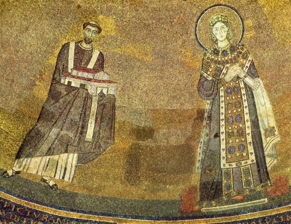 Папа Гонорий вручает святой Агнессе модель храма. Около 625 г. Мозаика. Рим. Сант Аньезе Фуори ле Мура