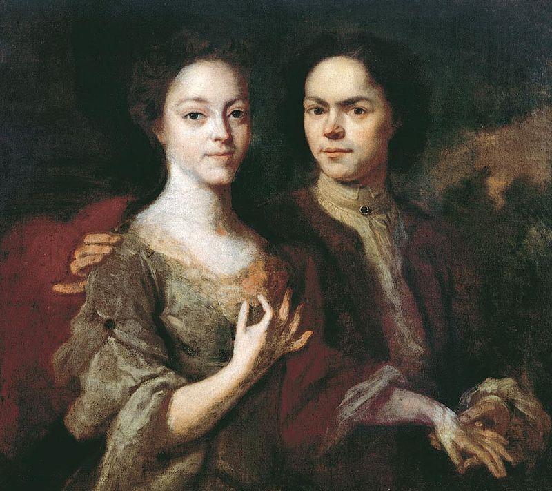 А. Матвеев. «Автопортрет с женой» (1729)