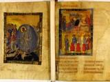 Миниатюра «Сошествие в ад» и двухярусная миниатюра «Брак в Кане Галилейской» (верхняя часть) и «Чудо в Кане Галилейской» (РНБ. Греч. 21, л. 1 об.-2)
