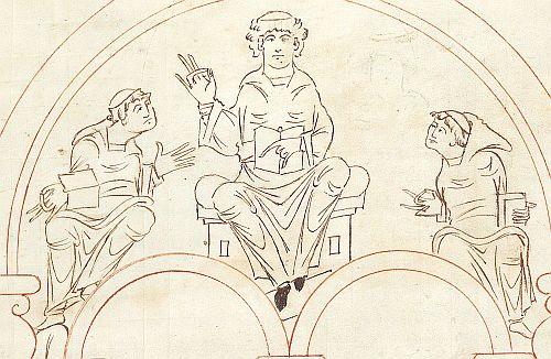 f. 10 Псалтирь Эадуи. св. Бенедикт, сообщающий монахам новый устав; фрагмент Таблицы Пасхалий
