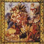 """Давид, играющий на лире. Темпера, пергамен. 37 х 26,5 см. Вторая половина 10 в. Париж, Национальная библиотека (gr. 139). Парижская Псалтирь. Ветхозаветный цикл. Одна из самых знаменитых византийских миниатюр и одновременно яркий памятник """"македонского ренессанса"""". Давид изображён играющим на лире посреди своего стада на берегу ручья, рядом сидит вдохновляющая его Мелодия. Она, полуобнажённая мужская фигура - аллегория города Вифлеема - у ног Давида, служанка, выглядывающая из-за колонны, - всё это цитаты из позднеантичного и раннехристианского искусства. Библейская сцена решена в духе античной буколики, пейзажно, классично, по-человечески опоэтизировано."""