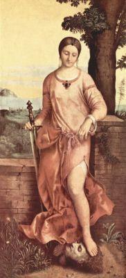 Джорджоне Юдифь Около 1505 144 x 66,5 см Дерево Санкт-Петербург. Государственный Эрмитаж