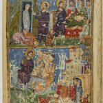 наверху Воскрешение Лазаря, блудница, омывающая ноги Христа миром в доме Симона фарисея, внизу Вход Господень в Иерусалим
