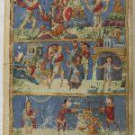 наверху жизнь Самсона, внизу Гедеон, пророка Исайю распиливают пилой
