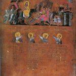 De intocht van Christus in Jeruzalem, een miniatuur van eind 6de eeuw na Christus