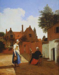 """Дворик""; ""Пряха"", около 1658, Букингемский дворец, Лондон"