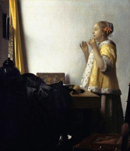 Женщина с жемчужным ожерельем. 1662—1665 нидерл. Vrouw met parelsnoer Масло, Холст. 55 × 45 см Берлинская картинная галерея, Берлин