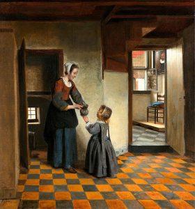Женщина с ребенком у кладовки (1658)