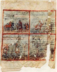 Царь Саул и пророк Самуил. Миниатюра Кведлинбургской Италы, после 400 г. Берлин, Государственная библиотека