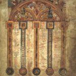 17. Таблица канонов. Келлская Книга. Лист 5r. Ок. 800 г. Дублин, Библиотека Тринити-Колледжа, Ms. 58 (A.I.6)