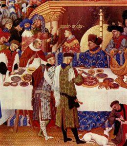 «Великолепный часослов герцога Беррийского» месяц Январь (фрагмент). Герцог изображён сидящим за столом в синей робе