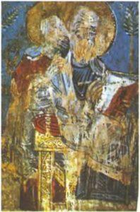 Евангелист Иоанн и апостол Павел  Миниатюра из Милятина Евангелия {Евангелие Домки) Новгород, Конец XI - начало XII века. Пергамен. 29,5 х 22 см. Российская национальная  библиотека, Санкт-Петербург
