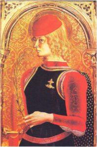 Карло Кривелли. Св. Георгий. Фрагмент. XV в. Монтефиоре дель Азо. Церковь св. Лучии