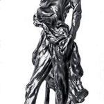 Ратапуаль. Бронза. 1850. В 1850 году он вылепил из глины знаменитую статуэтку Ратапуаля, воплотив в этом образе авантюристические черты, свойственные клике Луи Бонапарта. Изворотливая угодливость и крикливое фанфаронство выражены в фигуре парижского громилы.