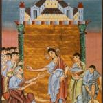 Христос омывает ноги апостолов.