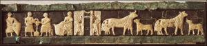 Часть фриза храма из Эль-Обейда со сценами сельской жизни. Мозаика из шифера и известняка на медном листе. Около 2600 г. до н. э. Багдад. Иракский музей.