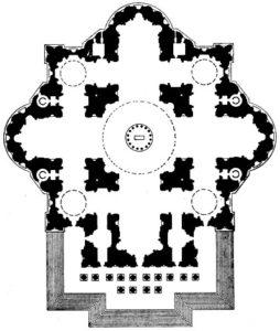 Микеланджело. Проект собора св. Петра в Риме. 1546 г. План.
