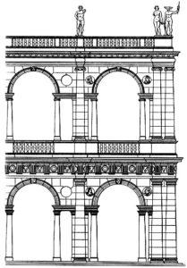 Палладио. Базилика в Виченце. Начата в 1549 г., закончена в 1614 г. Фрагмент фасада