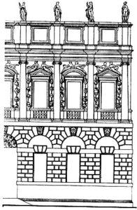 Палладио. Палаццо Изеппо деи Порти в Виченце. 1552 г. Фрагмент. Проект осуществлен не полностью