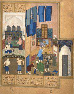 Бехзад. Гарун аль Рашид в бане. Миниатюра. «Хамсе» Низами. 1495-6, Британская библиотека. Лондон
