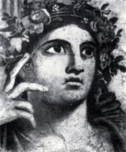 Голова нимфы Аркадии. Фрагмент фрески «Нахождение Телефа» из так называемой базилики в Геркулануме. Около 70 г. н. э.
