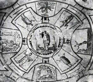 Добрый пастырь, оранты, история Ионы. Роспись потолка катакомбы св. Петра и Марцеллина в Риме. 3 в
