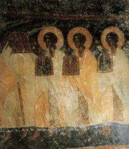 Великий вход. Фреска на западном склоне южного рукава креста