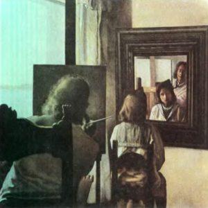 Дали, рисующий Гала со спины, с шестью запечатленными добродетельными оболочками глаз, условно отраженными шестью настоящими зеркалами. 1972-73