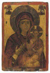 Двусторонняя икона с образом Богоматери Одигитрии на лицевой стороне. Кастория