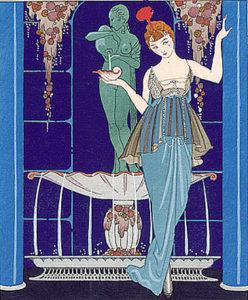 Иллюстрация Жоржа Барбьера из платья Пакуина (1914). Стилизованные цветочные узоры и яркие цвета были особенностью раннего арт-деко.