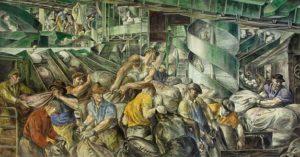 Реджинальд Марш, 1936, Рабочие сортируют почту, роспись в таможне США в Нью-Йорке