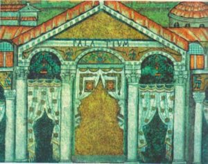 Дворец Теодориха. Фрагмент мозаики в церкви Сант Аполлинаре Нуово в Равенне, VI в