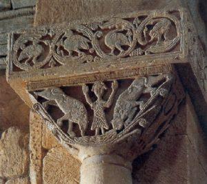Жертвоприношение Авраама. Рельеф капители церкви Сан Педро де ла Наве, конец VII в.