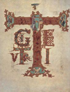 Инициал «Т» из Сакраментария Дрогона, 850—855 гг. Париж, Национальная библиотека