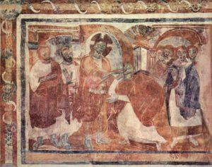 Исцеление немого. Фреска церкви Св. Иоанна в Мюстайре, IX в.