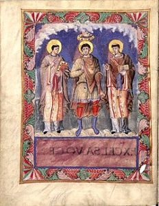 Карл Великий и папы римские Геласий I и Григорий I. Миниатюра из молитвенника короля Карла II Лысого