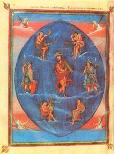 Танцующий Давид. Миниатюра Библии Вивиана. 845- 846. Париж, Национальная библиотека
