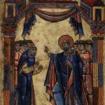 Жизнь святого Обена д'Ангера. Святой Обен, благословляющий верующих