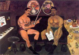 Илья Машков. «Автопортрет и портрет Петра Кончаловского». 1910. ГРМ