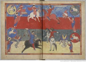 Апокалипсис Сен-Севера. 4 всадника Апокалипсиса. 108v - 109r. 1047 г.