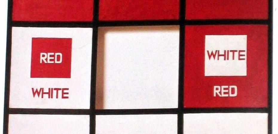 Сол Ле Витт. «Красный квадрат, белые буквы». 1963